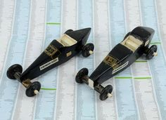 Pinewood derby cars.