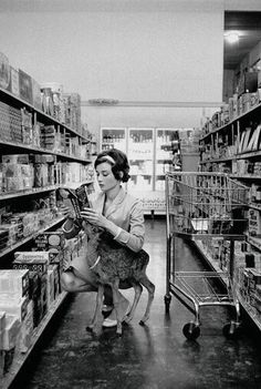 Audrey Hepburn shopping with her pet deer, Ip, in Beverly Hills, CA -1958.