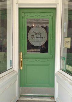 lovely shop door. the doors, shop, green doors, pantry doors, door colors, bakeri, door signs, front doors, door handles