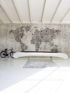 canoe as bench, world map as wall #JetsetterCurator