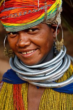 Bonda tribal woman. Onkadelli, Orissa, India.