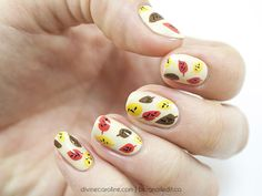 Fabulous Fall Nails: Adorable Abstract Leaf Design - It's finally that time of year when days get shorter, the air is a bit crisper, and cozy sweaters, tights, and ankle boots replace sundresses and sandals. Give your nails a fall makeover as well with an easy nail art design that brings a bit of the season to your fingertips.