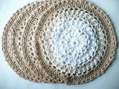 Set of 4 Beige & White Cotton Place Mats by ACCrochet on Etsy, $24.00