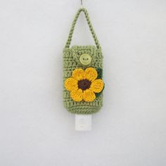 Crocheted Hand Sanitizer Holder/Cozy in Green w by R0SEDEW on Etsy, $8.00