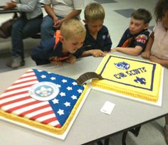 Cub Scout cake idea with wolf pack and American flag