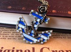 Summer fun. cutest anchor ever. Boho Anchor Necklace. $7.99, via Etsy.