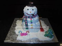 Homemade Snowman Cake... This website is the Pinterest of Christmas cakes