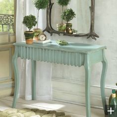 Love this color and design mirror, painted furniture, consol tabl, color, tiny houses, scallop, accent tables, entryway, console tables