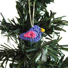 This tiny bluebird is an adorable ornament.  Crochet a flock of them for your Christmas tree!