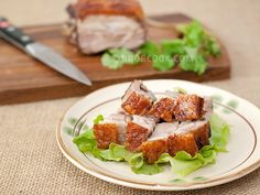 Crispy Roast Pork Belly 脆皮燒肉 Home-made crispy roast pork belly (Siu Yok/Shao Rou) may sound daunting, but it is actually quite easy, thanks to the oven doing the bulk of the work. Most of the preparation time is a no-work zone - chilling the marinated meat in the fridge, or slow-roasting it