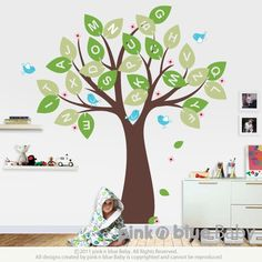 Bed rooms Wall decals Alphabet tree and Birds Nursery Kids by pinknbluebaby