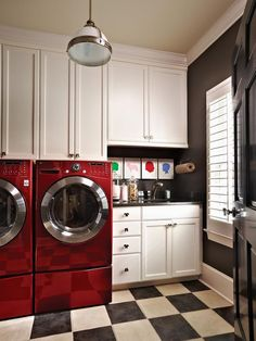 Classic Laundry Room with Red Washer and Dryer - on HGTV