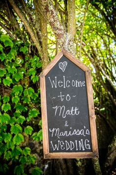 Chalkboard Welcome Sign | Arrowood Photography | TheKnot.com