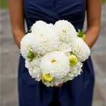 Navy bridesmaid dress with white dahlias