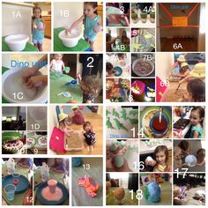 Dinosaur unit 1- hatch Dino eggs 2- paint wooden Dino 3- Dino Skelton out of pasta 4- layered snack with Dino in middle 5- letter D Dino  6-Dino dig site 7- Dino fossil find (takes time) 8,9,14- Dino themed food 10- end of unit Dino watermelon  11- letter D and lower case d match find 12- volcano experiment 13- foam Dino  15- Dino chocolate nest 16- boiled Dino eggs 17- Dino egg smash (frozen with Dino inside) 18- paper mâché Dino egg and paint
