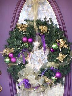 holiday, christma wreath, christmas wreaths, color, purple christmas, christma decor, purpl christma, purpl wreath, purpl door