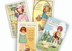 Vintage Easter Cards Digital Collage Instant Download by sssstudio