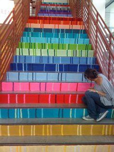 yarn bombing, color, knitting, austin texas, yarns, stair risers, yarnbomb, painted stairs, fiber art