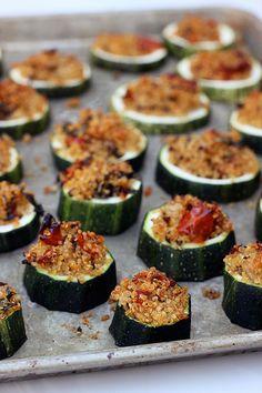 Quinoa Stuffed Zucchini Bites {Gluten-free + Vegan} // Tasty Yummies