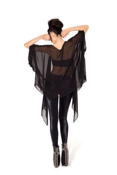 Back of Chiffon Kimono - LIMITED by Black Milk Clothing