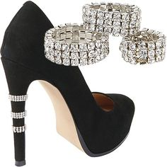 Shoe Bling by Steve Madden.  These slide right over your heels.