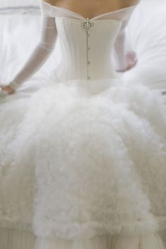 Most seamless addition of a corset to a  wedding dress. Not sure if I'd do that or not, but isn't it pretty? Sleeping Beauty, Ideas, Wedding Dressses, Stuff, Dresses, White, Winter Wedding Gowns, Ana Rosa, Winter Weddings