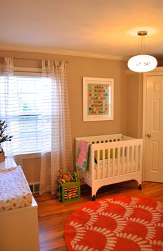 Baby Number Two Nursery.  Gender neutral nursery with some colorful accents!