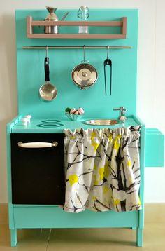 Play kitchen DIY idea, lots of stuff from IKEA?