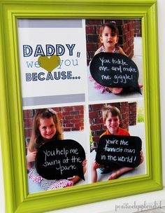 This adorable photo collage displaying things kids love about the men in their life is the PERFECT Fathers' Day gift!