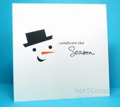 one layer card - snowman