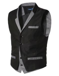 Amazon.com: Doublju Mens Layered design Vest Waistcoats: Clothing