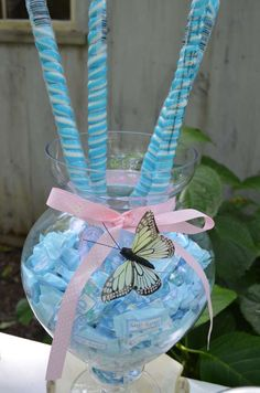 Candy jars at a Shabby chic Baby Shower Party!  See more party planning ideas at CatchMyParty.com!