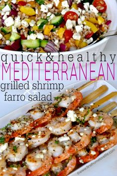 Greek Grilled Shrimp and Farro- A light and refreshing summer dinner that's low on calories but BIG on flavor!
