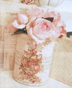 shabby decorated can