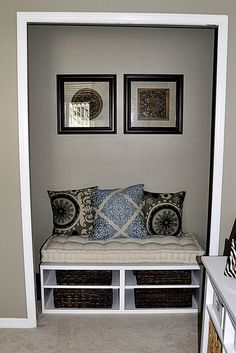 Closet turned reading nook.  Thanks Pinterest for the inspiration!