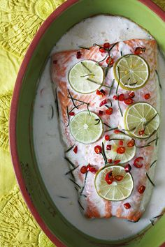 Baked Salmon in Lime-Coconut Cream Sauce (ปลาแซลมอนอบกะทิ) shesimmers