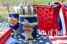 4th of july craft idea and reuse tin cans. These are to hold utensils, flowers, napkins, sparklers, etc.