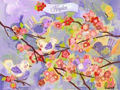 Cherry Blossom Birdies Lavender Personalized Canvas Wall Art