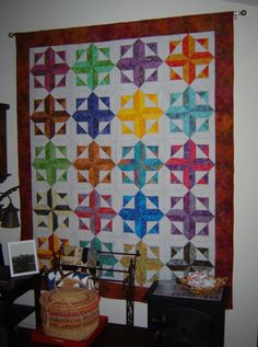Kathy Downard shared her version of Robin's Rainbow from Happy Stash Quilts which hangs in her living room. Beautiful! robin, quilt inspir, stash quilt, quilt ii, rainbow