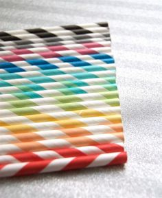 Rainbow party straws!  For straws and other Kids Party Supplies go to www.partyzilla.com.au