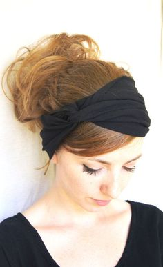 Turban Headband // Black Headband // Jersey Knit Headband // Hair Covering // Hair Wrap // Black Turban Headband