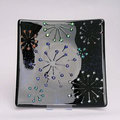 FIREWORKS Fused Glass Dish by HazelBunyan on Etsy, £50.00