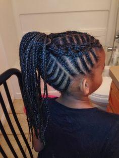 Cornrows Braids Extensions: Fishbone braids.