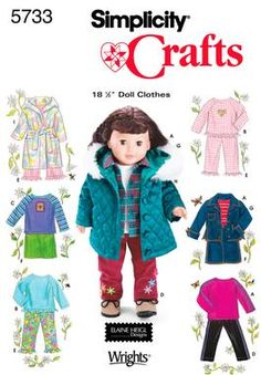 Casual Wardrobe for 18 Inch Doll Sewing Pattern 5733 Simplicity