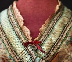 cotton, full skirts, ribbon trim, dress, 1860