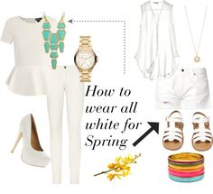 """""""white for spring"""" by melaniesims on Polyvore"""