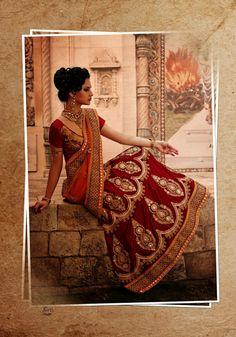 USD 221.18 Red Butta Work Net Wedding Lehenga Saree  34083