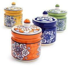 The canisters are GORGEOUS!  Sur La Table Floral Spice Jars #ppgorange