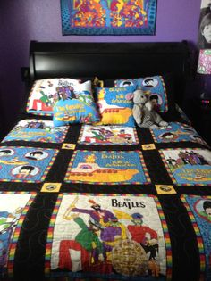My Beatles Yellow submarine quilt w\ pillows <3 My aunt made it for me.