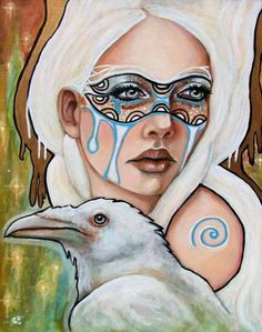 Celtic Raven Art | Branwen Celtic Goddess Art raven mask Pagan 8x10 by MoonSpiralart